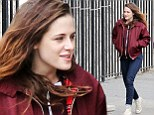 Is that a smile? Usually surly Kristen Stewart appears to be enjoying herself on the set of Still Alice in New York