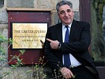Jim Carter back at his former school, Ashville College in Harrogate, where the drama studio was named after him