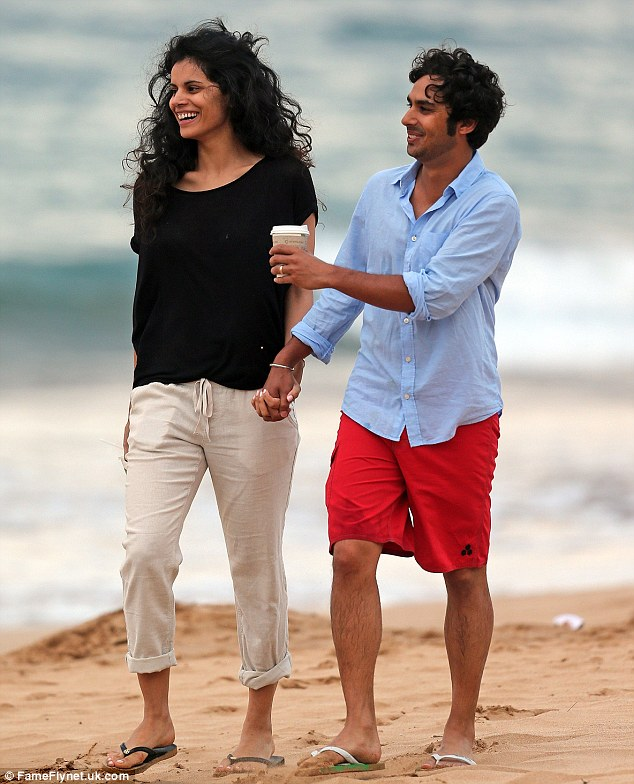 Wedded bliss: Kunal Nayyar and his former Miss India wife Neha Kapur were spotted taking a romantic stroll in Hawaii on Saturday