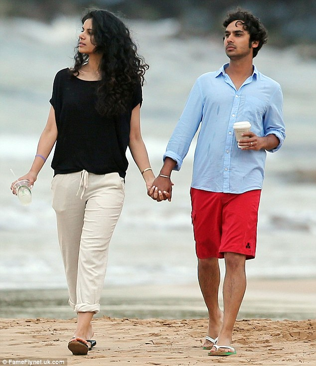 Chemistry: The couple dressed casually for their beach break with Kunal sporting red board shorts and a blue shirt, while Neha looked chic in beige trousers and a black top