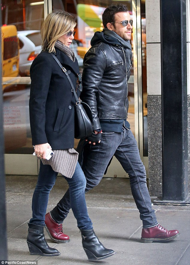 Stepping out: The actress was accompanied by fiance Justin Theroux