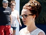 Starting a buzz! Britney Spears brings back the beehive hairdo while her 'Everyday Dave' sports skull T-shirt on lunch date