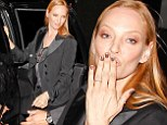 Fond farewell: Uma Thurman blew a kiss to fans on Monday after appearing on Jimmy Kimmel Live in Los Angeles