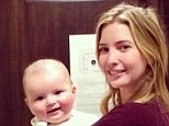 Early to rise: Make-up free Ms Trump, 32, looks radiant as she poses with five-month-old Joseph yesterday morning in Aspen, Colorado