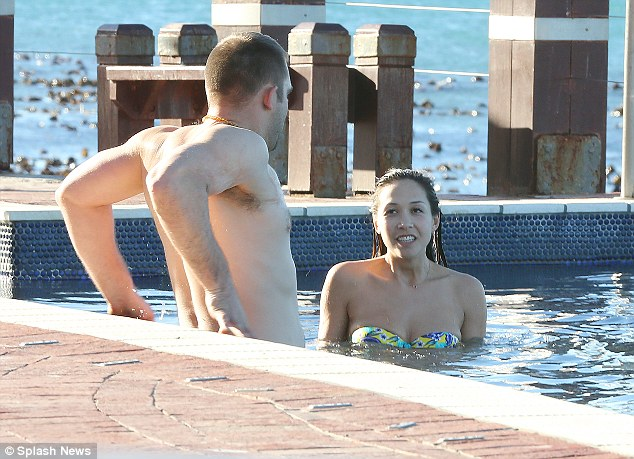 Buff stuff: Myleene looked as if she was eager to swim a few laps with her fellow guest