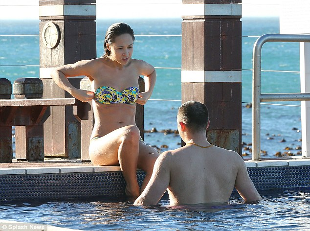 Taking the plunge: Myleene and the male guest seemed on comfortable terms with each other
