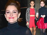 Red hot! Maria Menounos painted the town red in two bright red mini-skirts as she promoted Chasing Maria Menounos in New York City on Monday