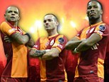 Bringing the noise: Wesley Sneijder (centre) could do some damage