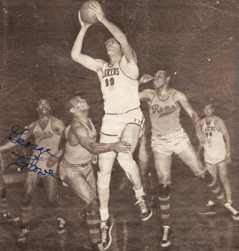 A newspaper clipping shows George Crowe (far left) and New York Rens teammates Dolly King (middle) and Duke Cumberland (right) trying to stop George Mikan of the Minneapolis Lakers