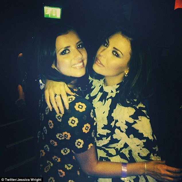 Girls' night out: Jess met up with Lucy inside the club, with the pals posing for a fun Twitter snap together