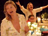 Kate Moss singing and dancing on board yacht