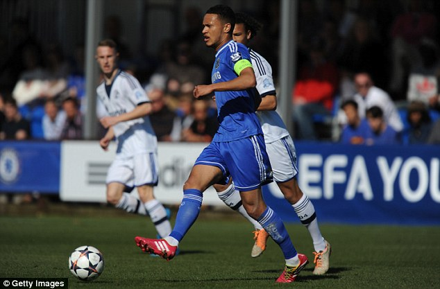 On the ball: Chelsea captain Lewis Baker was unable to lead his side to an expected victory against Schalke