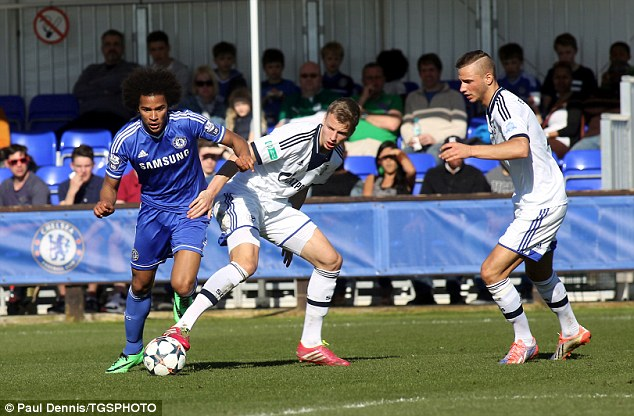 Late entry: Isaiah Brown was a second-half substitute for Chelsea as they looked to make a comeback