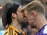 Head to head: George Boyd (left) and Joe Hart shared a heated exchange after the Hull winger's dive in the area