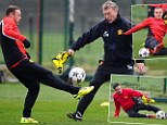David Moyes trains with his squad on Tuesday