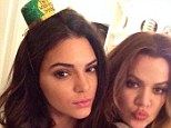 Sister sister: Kendall Jenner and Khloe Kardashian led the way Kardashian-Jenner clan paid tribute to the Emerald Isle as they threw themselves into St Patrick's Day celebrations on Monday night to mark Rob Kardashian's 27th birthday