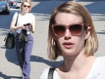 Pretty in polka dots: Emma Roberts made a statement in loose fitted navy blue and white polka dotted trousers as she shopped with a friend in West Hollywood on Monday