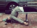 'Happy St. Patrick's Day!' Hilaria Baldwin passes out on a park bench with Guinness in hand... and calls it a yoga pose