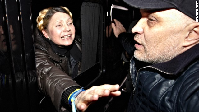 Tymoshenko is greeted by supporters shortly after being freed from prison in Kharkiv on February 22.
