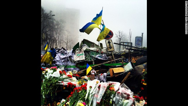 """KIEV, UKRAINE: The Shrine of the Fallen on Institutska Street honors the """"Heroes"""" killed in clashes with police. Photo on March 4 by CNN's Dominique Van Heerden. Follow Dominique on Instagram at instagram.com/dominique_vh."""