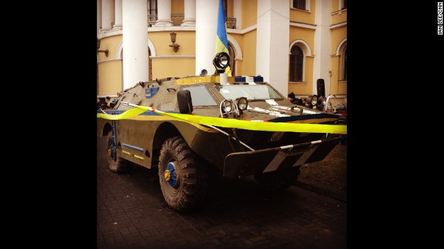 """KIEV, UKRAINE: """"APC in central Kiev (March 1). It appeared the morning after Russian forces moved into the Crimea."""" -- CNN's Ian Lee. Follow Ian on Instagram at instagram.com/ianjameslee."""