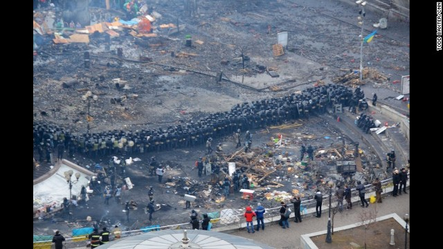 KIEV, UKRAINE: Riot police face anti-government protesters during clashes in central Kiev on February 20. Photo by CNN's Todd Baxter.