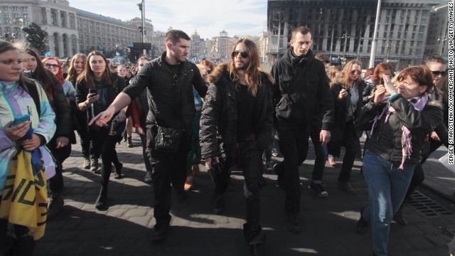"""Recent Academy Award winner Jared Leto walks through Independence Square in Kiev, Ukraine, on March 13. During his Oscars acceptance speech in early March, the actor spoke to protesters in Ukraine and Venezuela saying, """"We're thinking of you tonight."""""""