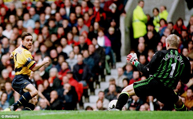 Title decider: This Marc Overmars goal at Old Trafford turned the tide in the 1997-1998 Premier League title race