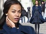 Feeling blue? Zoe Saldana looks forlorn in dark tones as filming continues in Paris for horror reboot Rosemary's Baby