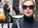 Vamping it up! Katherine Heigl dons leather trousers and studded high-heel boots for morning city stroll