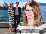 What an Amazing view! Emma Stone and Andrew Garfield cuddle up as they visit iconic Sydney Harbour ahead of Spider-Man film sequel