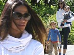 Camila Alves enjoys casual Malibu stroll with sons Levi, five and baby Livingston
