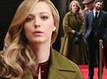 Blake Lively is elegant in olive swing coat and black leather gloves for movie shoot in chilly Canada