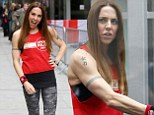 The only Spice Girl for the job! Mel C shows off incredibly toned arms in Sport Relief vest and camouflage print leggings as she supports Jo Whiley
