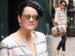 Knock ('em) Out! Lily Allen teams chic checked top with plaited 'do for outing in NYC as she carries statement fluffy bag
