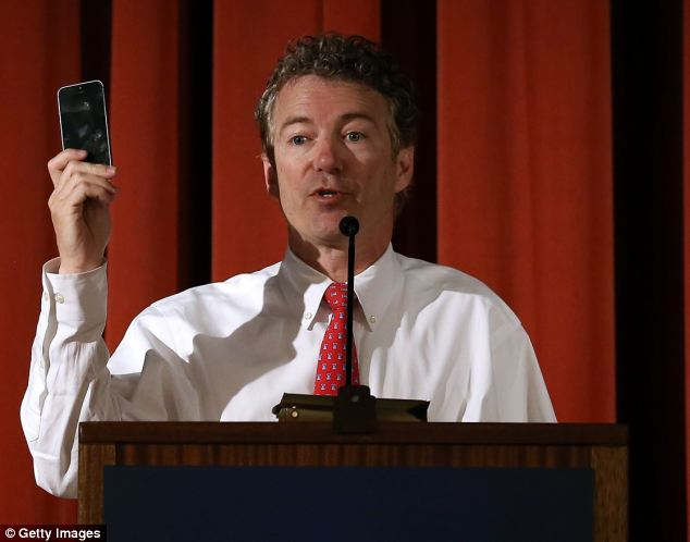 'If you own a cell phone, you¿re under surveillance,' U.S. Sen. Rand Paul told a capacity crowd at the Berkeley Forum on Wednesday