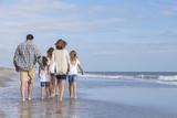 Family Parents Girl Children Walking on Beach