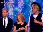 Threes a crowd: Kylie Minogue performed Especially For You on Friday evening for Sport Relief 2014 with David Walliams and Jason Donavon