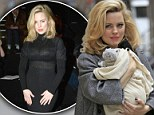Handle With Care! Melissa George holds on tight to her newborn son Raphael as she continues work on her movie in New York