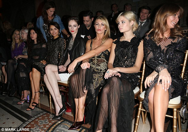 All eyes on the front row: Abbey and Millie were joined in the best seats in the house by the likes of Eliza Doolittle and Samantha Barks