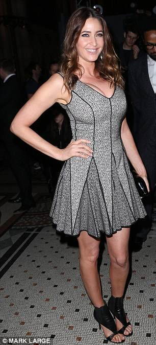 Girls' night out: Capital FM DJ Lisa Snowdon chose a simple grey skater dress for the occasion, while trictly Come Dancing star Kristina Rihanoff rocked a simple LBD