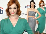 Retro glam: Christina Hendricks, left, and Jessica Pare, right, subtly coordinated as they attended the Mad Men screening at the PaleyFest 2014 in Los Angeles on Friday