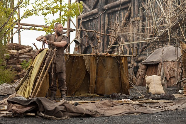 Russell Crowe works on building an ark in the film 'Noah'