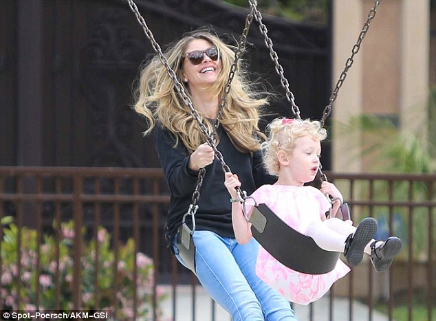 The happy family: Rebecca Gayheart played with her daughters Billie and Georgia while at a park in Beverly Hills on Saturday