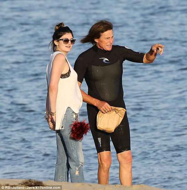 Good girl: Kylie Jenner brought her dad Bruce lunch in Malibu, California, on Friday