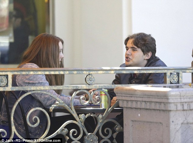Lunch date: The young couple held hands and Nikita appeared to be thoroughly engrossed in conversation with her boyfriend
