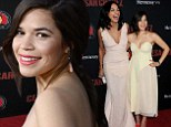 So slim! America Ferrera showed off her slender shape in a strapless pale yellow dress as she attended the premiere of Cesar Chavez in Hollywood on Thursday