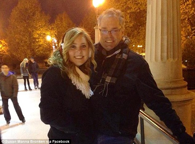 Family tragedy: Jeffrey Bronken (right) died in the crash, but 15-year-old daughter Katherine survived, she is in critical condition at a local hospital