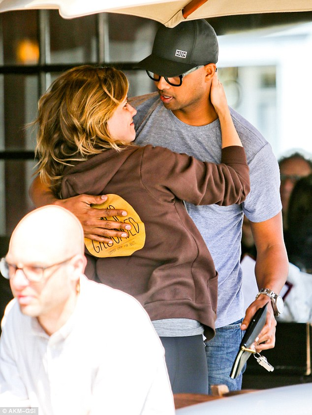 Where's your boyfriend? Sophia Bush was seen getting cosy with a hunky mystery male during lunch at Kings Road Café in West Hollywood on Friday