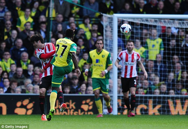 Canaries singing: Alex Tettey fires in a contender for goal of the season at Carrow Road